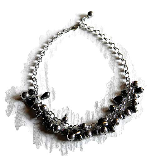 Choker Halskette mit facettierten und glatten Rhodium Hämatit Charms