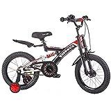 CYXYXXYX Doble Freno Bicicleta para Niños De Estilo Libre Bicicleta para Niños De 18 Pulgadas con Ruedas De Entrenamiento, Bicicleta De Montaña para Niños De 5-9 Años Ciclismo De Cercanías,Negro