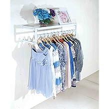 Perchas de pared Tienda de ropa Soporte de exhibición Soportes de exhibición Tienda para mujer Estantería Retro Colgador de pared Colgador de ropa Estante ( Color : Blanco , Tamaño : 100cm )