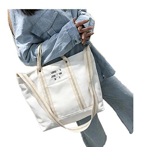 Mode Frauen Brief Drucken Leinwand handtasche, LSAltd Damen Große Kapazität reißverschluss Einkaufen Tasche Schick Schulter Tasche (Weiß) (Schwarze Schulter-stil Handtasche)