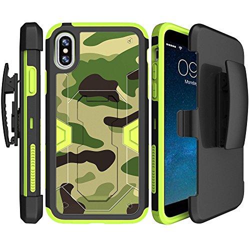 Grün Apple iPhone X Clip Case [Grün Max Defense Schutzhülle für iPhone X], schlagfestem Metallständer & Holster Case für iPhone X | Grün Apple iPhone X Gürtelclip Combo Fall, Grün/Camouflage - Verizon Handys Von Entsperrt