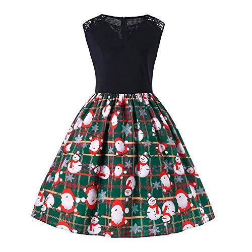 Beikoard Frauen Business Kleider Damen Knielang Frohe Weihnachten Sleeveless Santa Schneemann Claus Print Party Swing Kleid Elegant Etuikleider