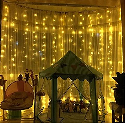 Xmas Candy String Light 20 Meter 200 LEDs Fenster Curtain Wedding Party Halloween Christmas Garten Zimmer Outdoor Indoor Wall Dekorationen (warm weiß, 8 Modi, Tail Stecker)