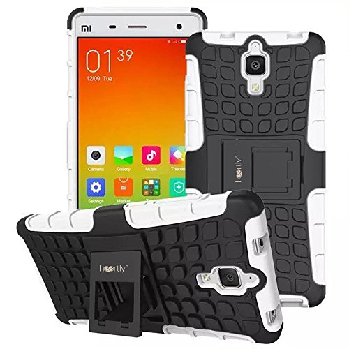Heartly Flip Kick Stand Spider Hard Dual Rugged Armor Hybrid Bumper Back Case Cover For Xiaomi Miui Mi 4 Mi4 - Best White