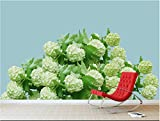 Wxlsl Original-3D-Tapete Frische Hortensie Wohnzimmer Sofa Hintergrund Wand Grün Wandbild-400Cmx280Cm