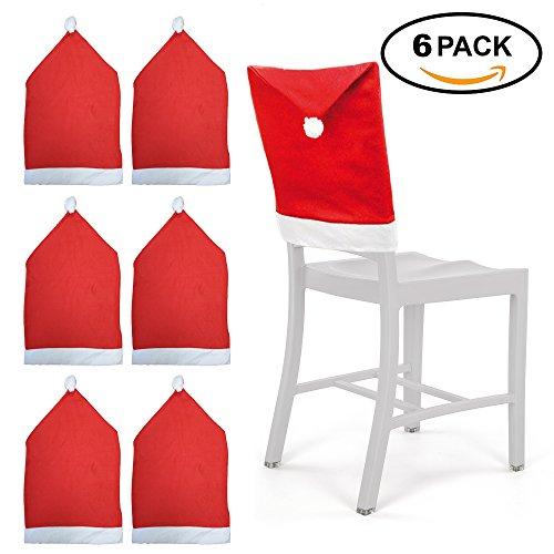 Stuhlhussen Weihnachten Set im 6er Pack – Stuhlbezüge und Stuhlüberzüge im Weihnachtsmützen-Look für Ess-Stühle – wiederverwendbare Weihnachtshussen als ideale Weihnachtsdekoration