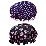 2 Pieces Double-layer Bath Cap Elastic Band Shower Hat Waterproof for Women Shower Spa