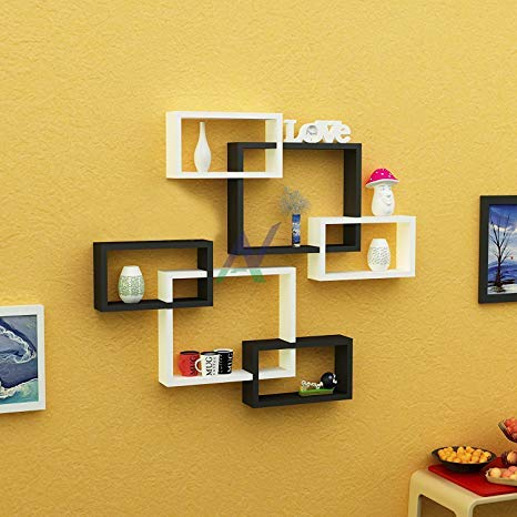 Amaze Shoppee Wall Shelf Intersecting Wall Shelves Set of 6 (BLACK AND WHITE)