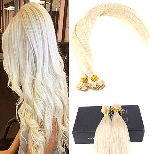 Sunny 16pollice/40cm flat tip extension capelli veri brasiliana lisci extension cheratina fusion umain capelli bionda #60 50*1g/pack