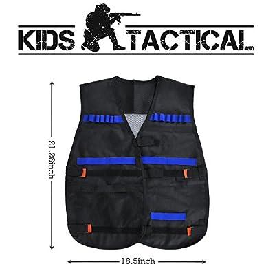 Kids Tactical Vest, LOYO Tactical Vest Jacket Kit for Nerf Gun N-Strike Elite Series with 40Pcs Darts Bullets, 2Pcs 12-Dart Quick Reload Clips, 1Pcs 8-Dart Wrist Band, Seamless Face Mask & Goggle