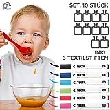 Lätzchen bemalen | SET: 6 Textilstifte + 10 weiße Lätzchen | 100% Baumwolle mit wasserabweisender Rückseite | Kinder & Erwachsene | Textilstifte Rico Design | Babyparty | Marke ZoeZoo