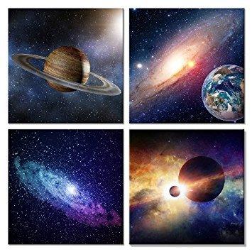 Wieco Art Giclée-Kunstdruck auf Leinwand Art Wand Gemälde für Schlafzimmer Home Dekorationen Universal Magic Power 4Stück gespannt und gerahmt Modern Star Sky Bilder Astronomie Landschaft Kunstwerke -