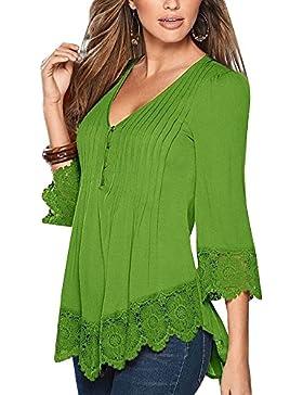 Mujer De Encaje Empalme Escote V Casual Elástico Manga Larga Camisas Blusas Suelto Verano Verde M