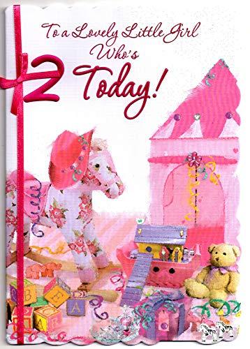 Geburtstagskarte für 2 Jahre alte Mädchen, englische Aufschrift