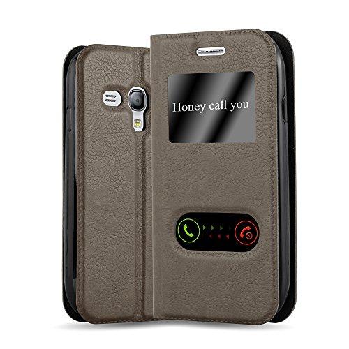 Cadorabo Custodia Libro per Samsung Galaxy S3 Mini in Bruno Pietra - con Funzione Stand e Chiusura Magnetica - Portafoglio Cover Case Wallet Book Etui Protezione