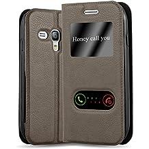 0955252ff32 Cadorabo Funda Libro para Samsung Galaxy S3 Mini en MARRÓN Piedra -  Cubierta Proteccíon con Cierre