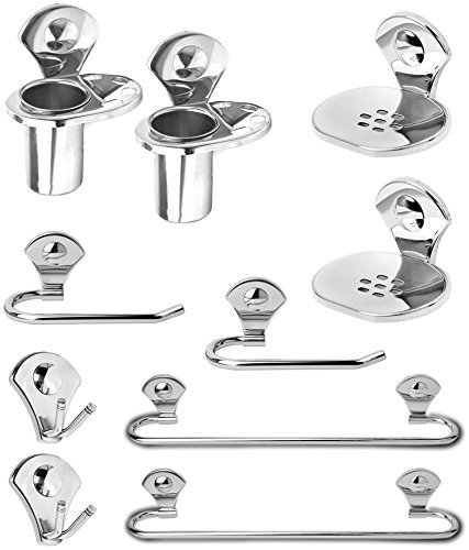 FortuneTM Premium 10 – Pieces Stainless Steel Bathroom Accessories Set ( Set of 2 )