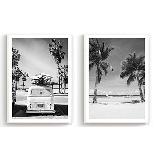 Flanacom Design-Poster Hochglanzdruck 2er Set A3 Schwarz Weiß Kunstdruck auf Premiumpapier Deko Wohnung Modern 29,7x42cm - Motiv Strand Palmen Surfer Bus (mit Rahmen)