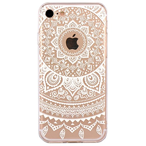 iPhone 5 Case, Walmark Beautiful Clear TPU Soft Case Rubber Silicone Skin Cover for iPhone 5 inch - White Circle Flower Tribal Mandala