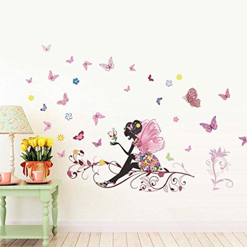 STRIR Extraíble de flores hada mariposas pared adhesivos adhesivo para las niñas habitación de niño