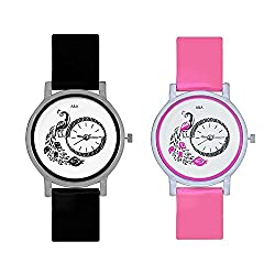 A&A CORP Peacock Black And Pink Color Round Dial Analog Watches Combo For Girls And Women