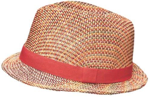 i-Smalls Femmes Couleur-Chapeau Trilby en Paille avec bordure élastique Orange - Orange
