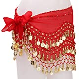 #6: Imported 1PC Belly Dance Belt Hip Scarf Wrap Belt Skirt with 128 Gold Coins - Red...