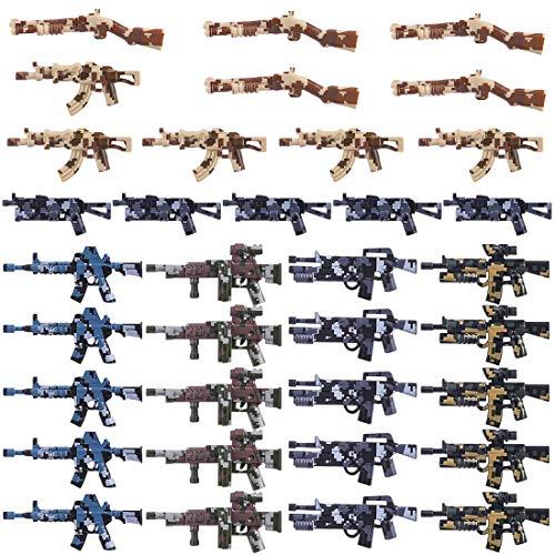 BOROK 35 pcs Mini Custom Waffen Zubehör Set Armee Minifiguren Soldaten SWAT Bausteine Spielzeug Waffenzubehör Toys
