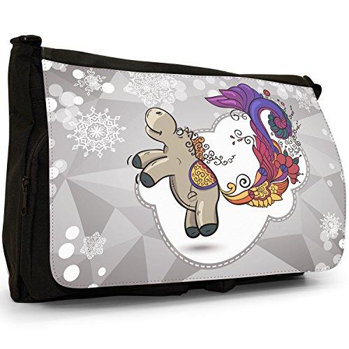 Holiday stagione cavalli di fiocco di neve, colore: nero, Borsa Messenger-Borsa a tracolla in tela, borsa per Laptop, scuola Nero (Horse & Elegant Peacock Tail)