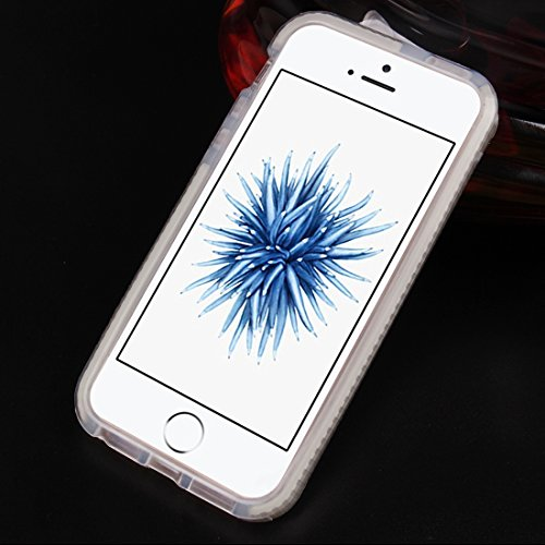 Wkae Case Cover Für iPhone 5 &5s &SE Weben Textur transparenter TPU-Schutzhülle ( Color : Blue ) White