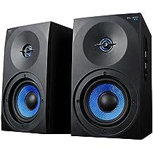 Woxter Dynamic Line  DL-410 FX - Altavoces multimedia 2.0 (Potencia 150W, en madera, conexión 3'5 mm, control de sonido en panel lateral), Negro/Azul