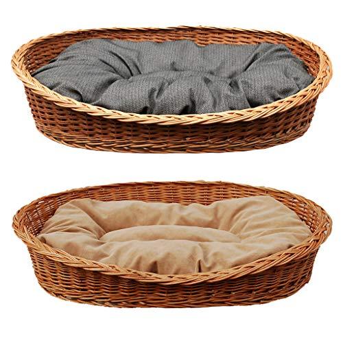 GalaDis Großer Hundekorb/Hundebett/Hundesofa aus Weide mit weichem Hundekissen für mittelgroße und große Hunde ca. 95 cm