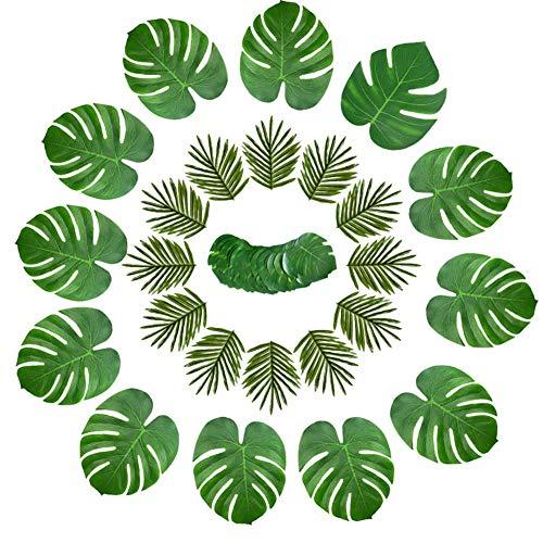 Hawaii tropische Party-Dekoration, tropische Palmen-Monstera-Blätter, Hibiskus-Blumen und Papierschirm für Hawaii-Party, Sommer, Strand, Tiki Party, Tischdekoration, 98 Stück 36pcs Monstera Leaves