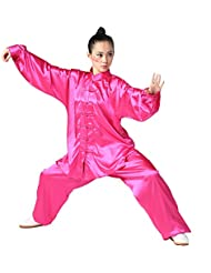 zooboo Unisex Seda de Corea del Sur Uniforme de Tai Chi Kung Fu trajes, Pink Red