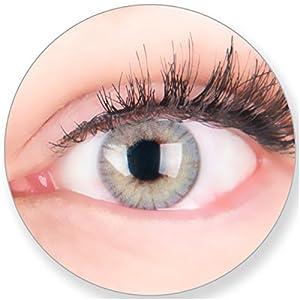 Glamlens Kontaktlinsen farbig grau ohne und mit Stärke – mit Kontaktlinsenbehälter. Sehr stark deckende natürliche graue farbige Monatslinsen Lichtgrau 1 Paar weich Silikon Hydrogel