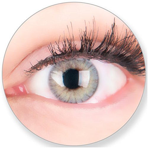 Glamlens Kontaktlinsen farbig grau ohne und mit Stärke - mit Kontaktlinsenbehälter. Sehr stark deckende natürliche graue farbige Monatslinsen Lichtgrau 1 Paar weich Silikon Hydrogel 0.0 Dioptrien