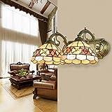 Continental Camellia Shell Schlafzimmer Wohnzimmer Spiegel vorderen Leuchten Badezimmer-Wand-Lampe Nachttischlampe American Pastoral