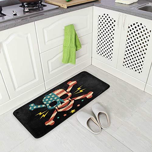 Mnsruu Küchenmatte, Schädel Mit Amerikanischer Flagge Küchen Teppiche Wasserdicht rutschfeste Fußmatte Bad Läufer Bereich Teppich Teppich, (90x51cm) -