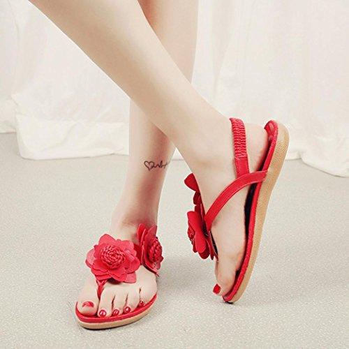 HCFKJ 2017 Mode Frauen Flache Schuhe Blumen Bohemia Leisure Sandalen Peep-Toe Flip Flops Schuhe Rot