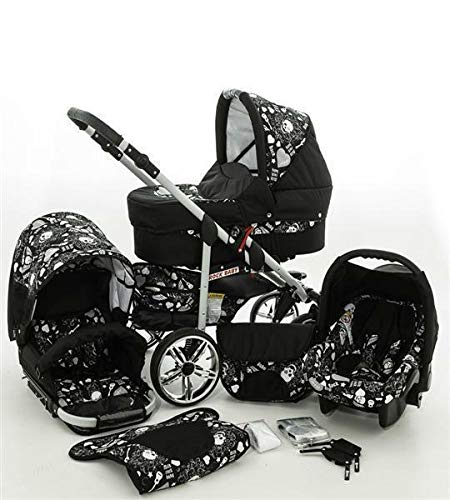 SaintBaby Stroller Pram Pushchair 2in1 3in1 Set All in one Baby seat Buggy X-Move Rocker Skull Black & Skull 3in1 with Baby seat SaintBaby 3in1 or 2in1 Selectable. At 3in1 you will also receive the car seat (baby seat). Of course you get the baby tub (classic pram) as well as the buggy attachment (sports seat) no matter if 2in1 or 3in1. The car naturally complies with the EU safety standard EN1888. During production and before shipment, each wagon is carefully inspected so that you can be sure you have one of the best wagons. Saintbaby stands for all-in-one carefree packages, so you will also receive a diaper bag in the same colour as the car as well as rain and insect protection free of charge. With all the colours of this pram you will find the pram of your dreams. 2