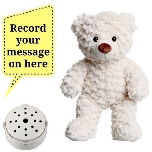 ac93d1abc14 Splodge Recordable Gift Bear- 25cm Fluffy Cream Teddy Bear - Record a 20  second personal message and send in a bear