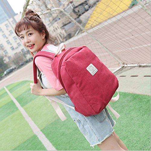 Hualing Les Etudiants Canvas Simple Double Sac ¨¤ bandouli¨¨re ¨¦cole de Tourisme et Loisirs Solid Color Backpack Rouge Grand Rouge Grand