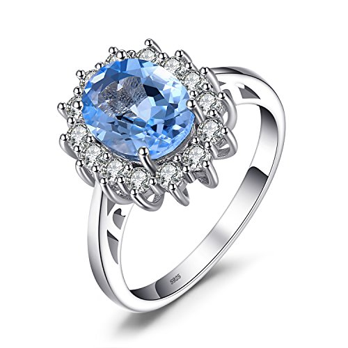 Jewelrypalace Principess Diana William Kate 2.3ct Naturale Blu Topazio Fidanzamento Halo Anello 925 Sterling Argento 14.5