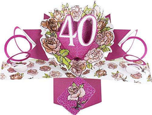 Suki gifts, biglietto di auguri di compleanno 3d, 40 anni, multicolore (lingua italiana non garantita)