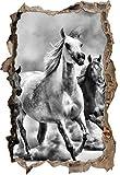Monocrome, Western Pferde in Wüste mit Fohlen Wanddurchbruch im 3D-Look, Wand- oder Türaufkleber Format: 62x42cm, Wandsticker, Wandtattoo, Wanddekoration
