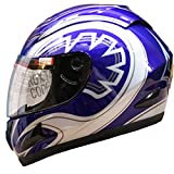 Leopard LEO-818 Full Face Helmet Scooter Motorcycle Motorbike Crash Helmet Blue Graphic S