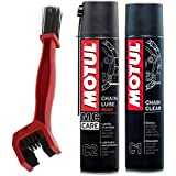 Motul C1 Chain Clean and C2 Chain lube (400 ml) with GrandPitstop Bike Chain Cleaning Brush Red