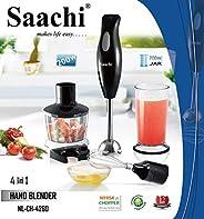 Saachi Multi-Purpose 4 In 1 Hand Blender With Jar, 4260, Black, 1 Year Brand Warranty