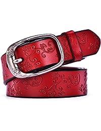 Styhatbag Cinturón de Mujer para Mujer Cinturones de Vaqueros de Cuero  Genuino de la Flor de ... 1a9df454219a