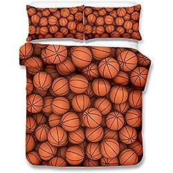 Full de baloncesto 3d juego de ropa de cama de funda nórdica realista cama hoja # 2, 100% poliéster, basketball, matrimonio